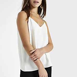 Petite white cross back cami top