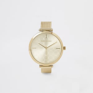 Goldfarbene Armbanduhr mit Netzarmband
