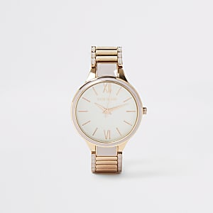 Grey and rose gold color bracelet watch