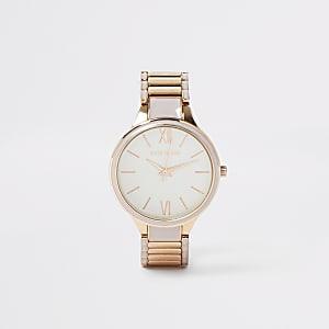 Montre à bracelet grise et dorée