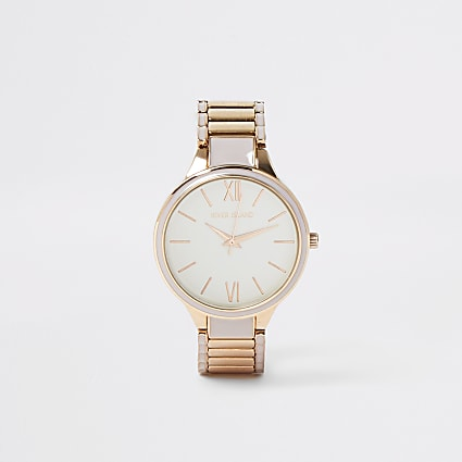 Grey and rose gold colour bracelet watch