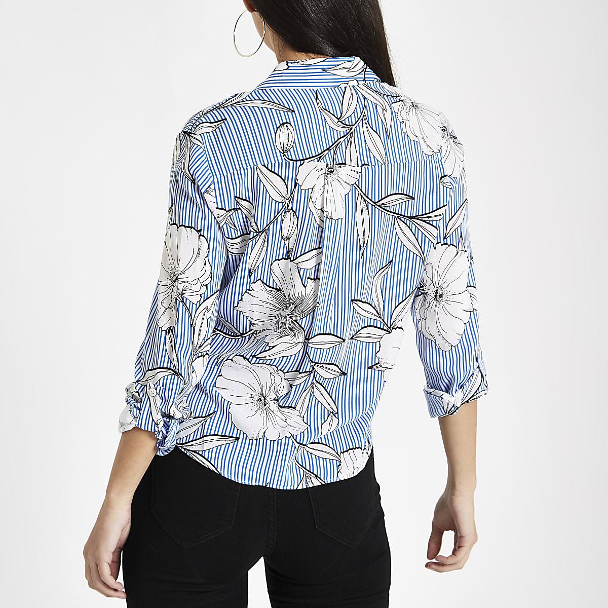super popular d85ba f727e Blue stripe floral print tie front shirt