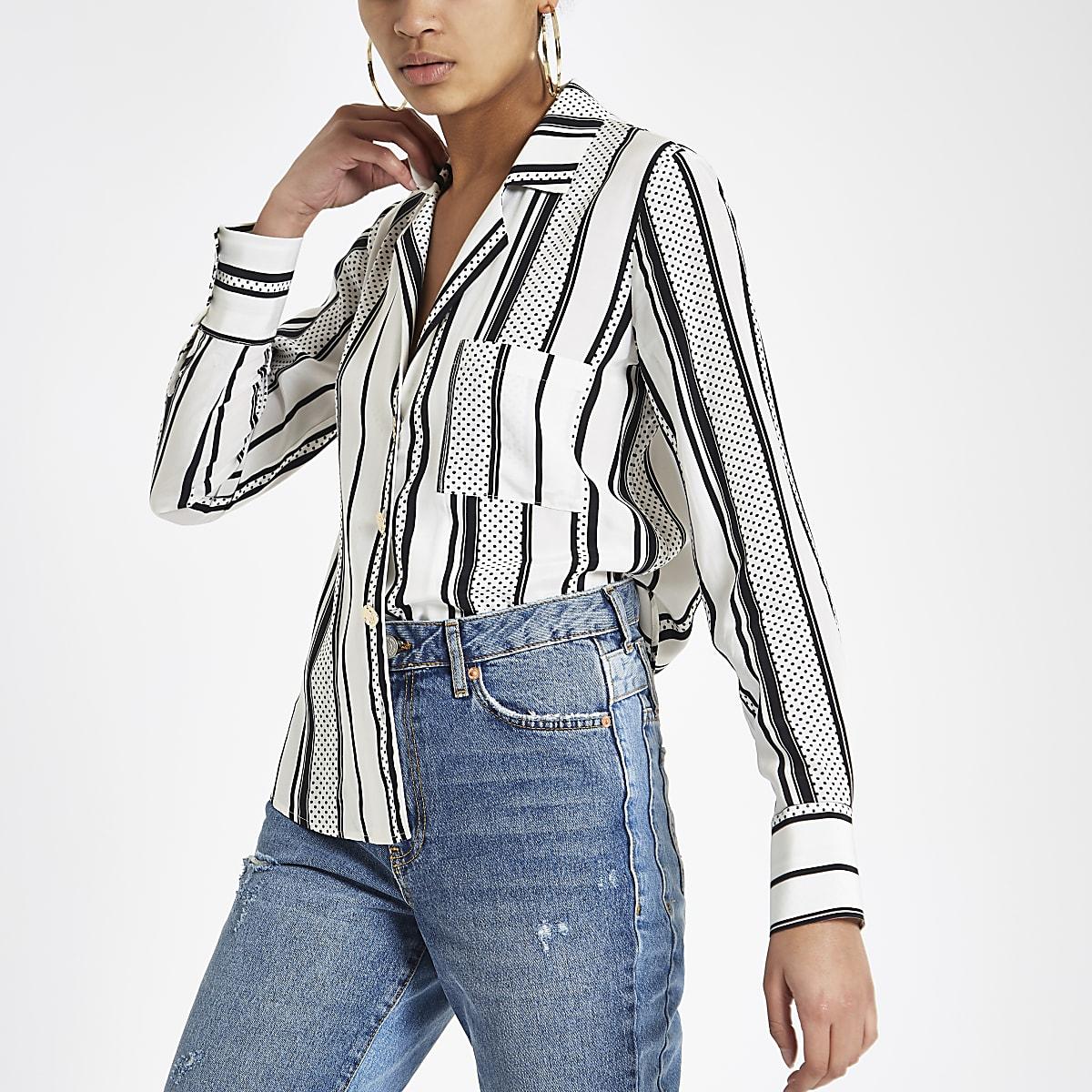 Black stripe gold tone button shirt