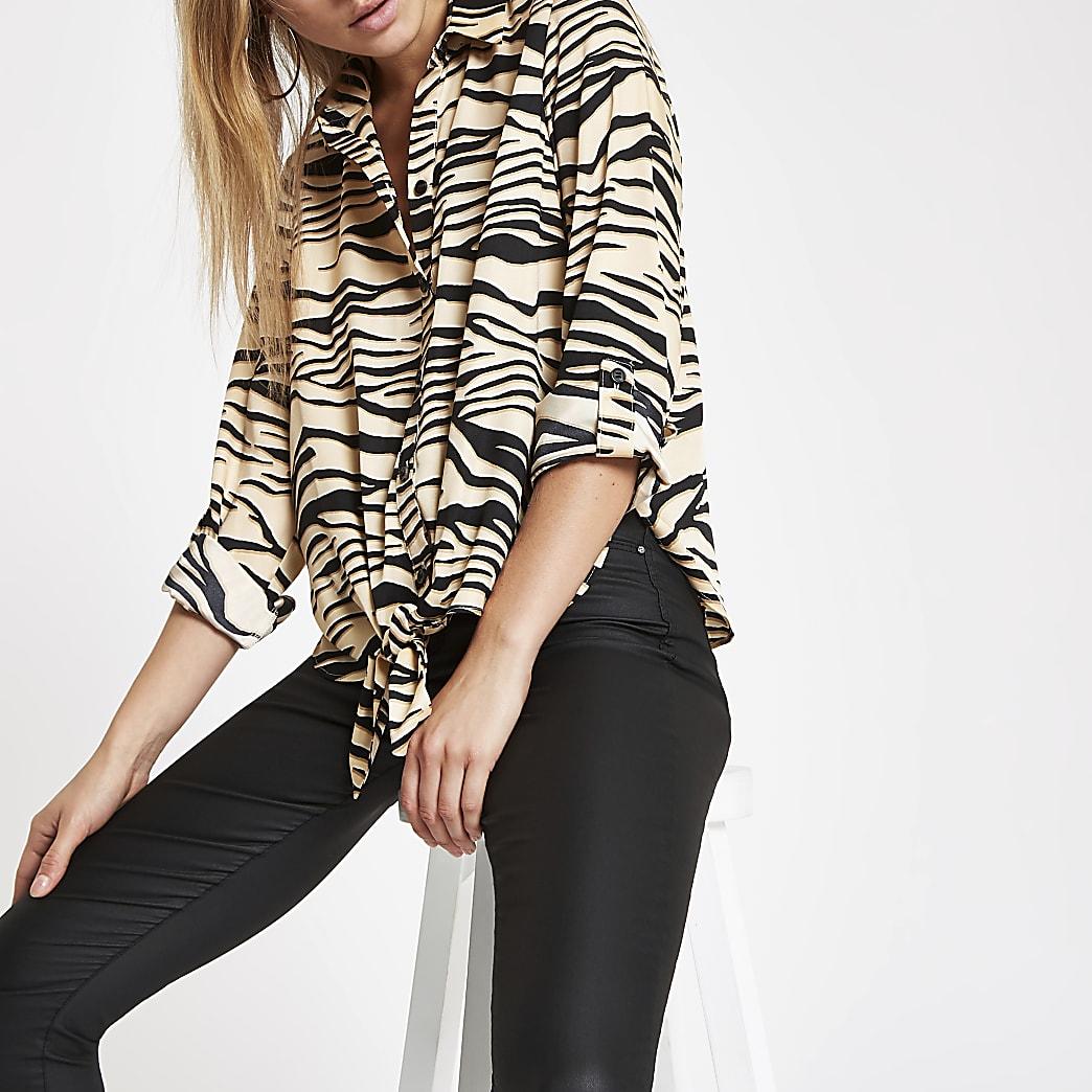 Crèmekleurig overhemd met zebraprint en strik voor