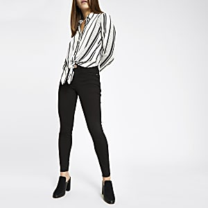 Petite white spot stripe tie front shirt