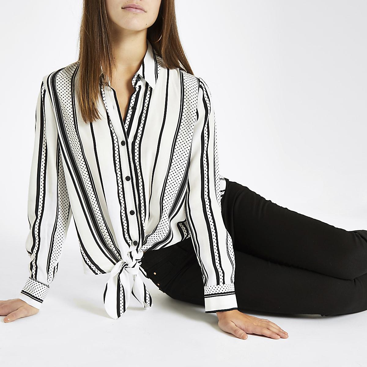0ff40712a3 Petite white spot stripe tie front shirt - Shirts - Tops - women