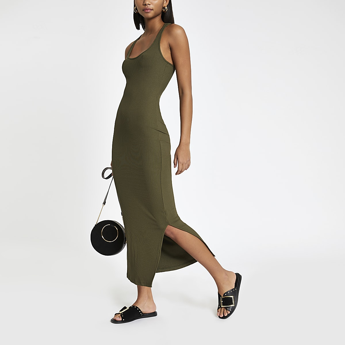 Khaki ribbed scoop neck bodycon maxi dress