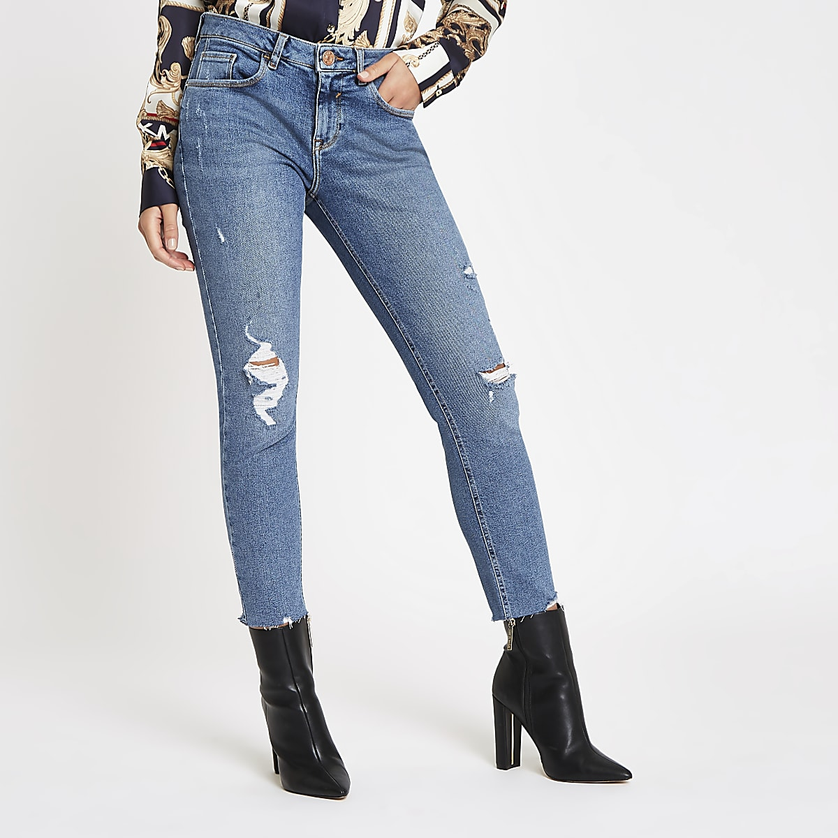 Mid blue Alannah ripped skinny jeans