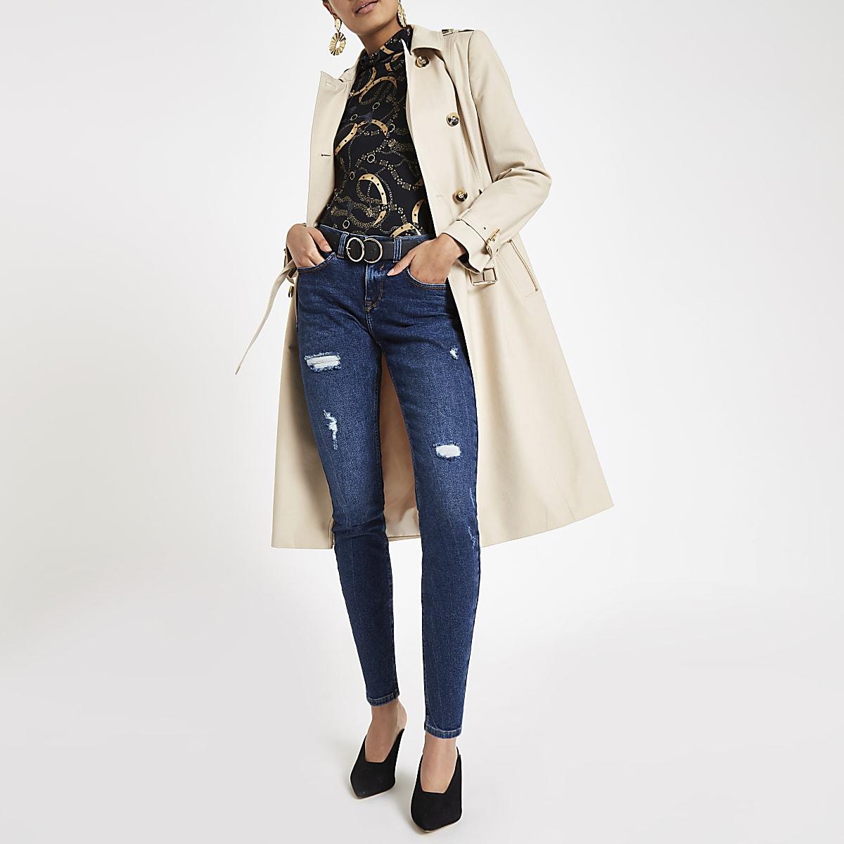Alannah - Donkerblauwe skinny jeans met halfhoge taille
