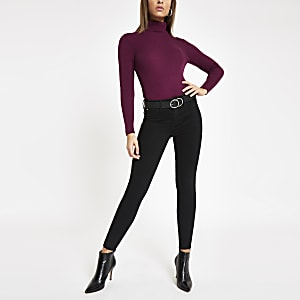 Purple roll neck long sleeve top