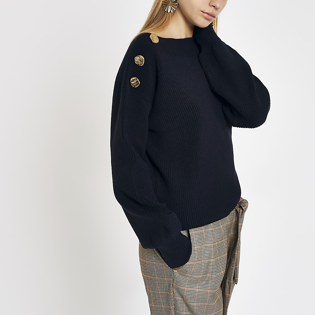 Navy boat neck button detail jumper