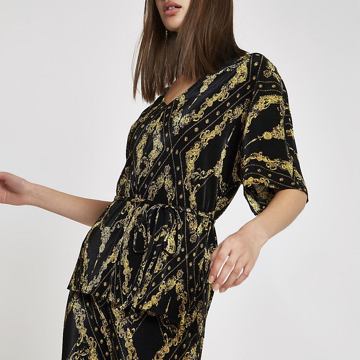 Black plisse chain print tie waist kimono top