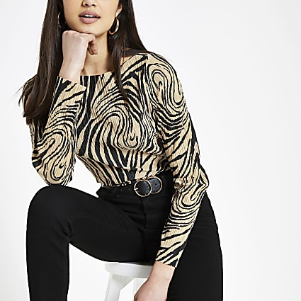Cream zebra print plisse top