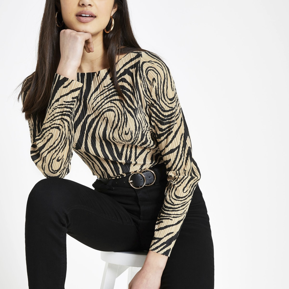 Cream zebra print plisse top