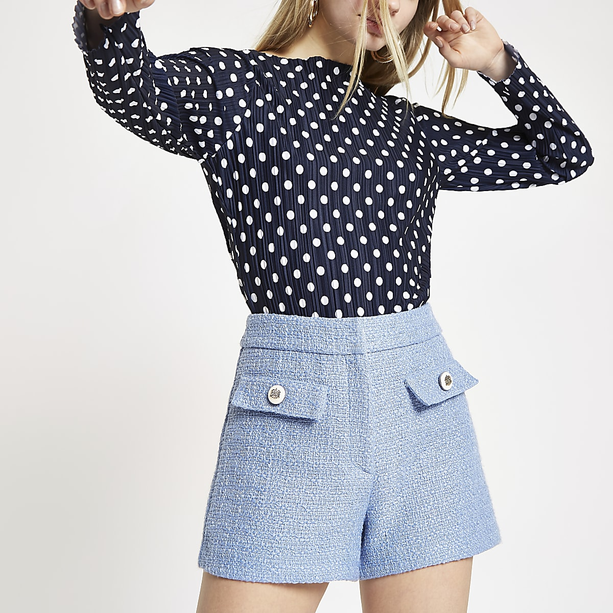 Navy polka dot print high neck top