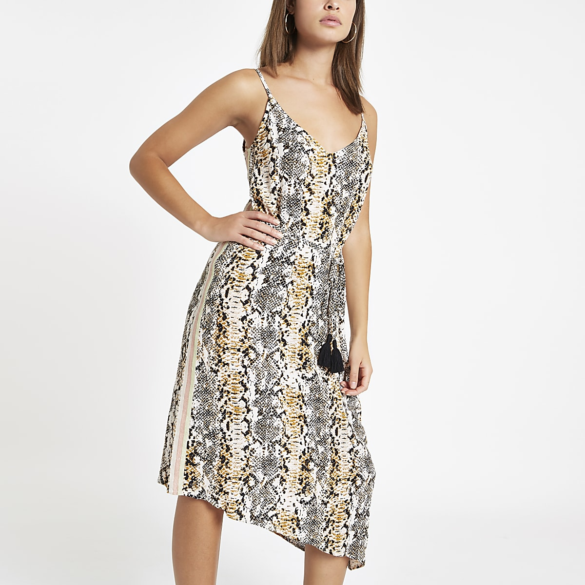 Beige snake print tie waist beach dress