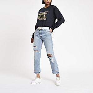 Navy 'Luxe' foil print sweatshirt