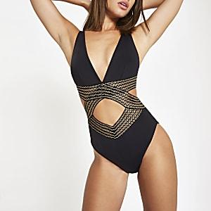 Zwart elastisch zwempak met overslag