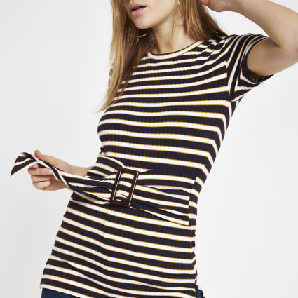Navy stripe ribbed belted top