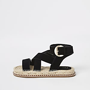 Black suede espadrille sandals