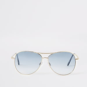 Gold tone twist blue lens aviator sunglasses