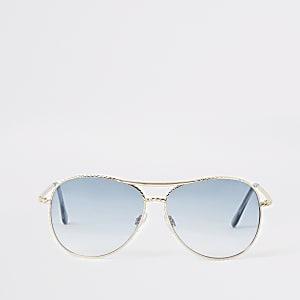 Lunettes de soleil aviateur dorées torsadées avec verres bleus