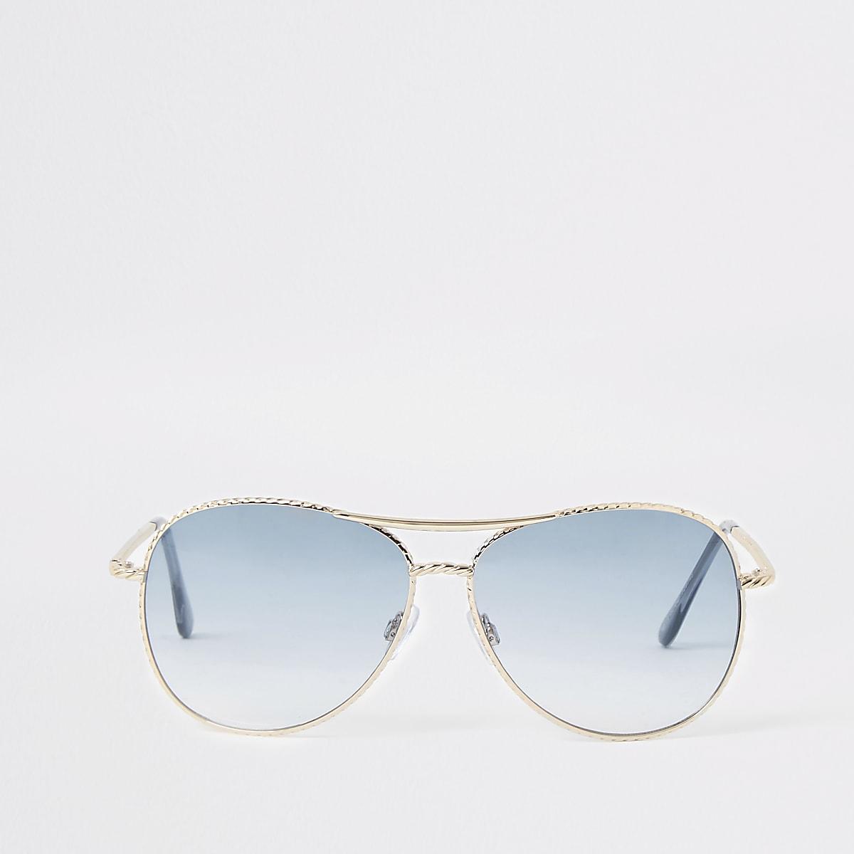 Gold tone twist blue lens aviator sunglasses