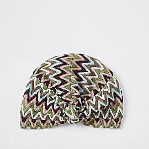 Bandeau façon turban imprimé zigzag bleu