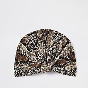 Beige snake print turban headband