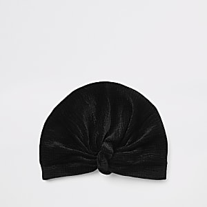 Black velvet plisse twist turban headband