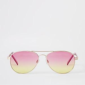 a3cd5a377c87 Gold tone pink lens aviator sunglasses
