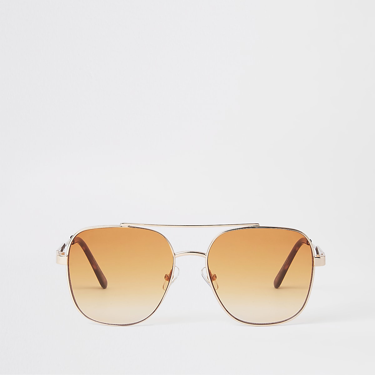 Gold tone orange lens aviator sunglasses