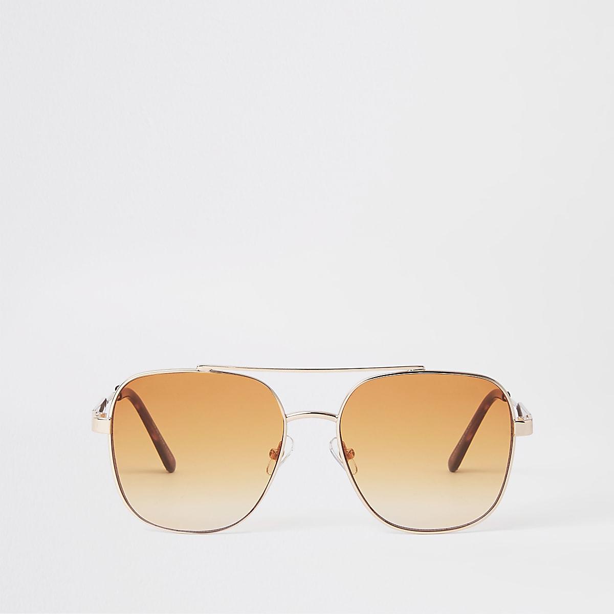Lunettes de soleil aviateur dorées à verres orange