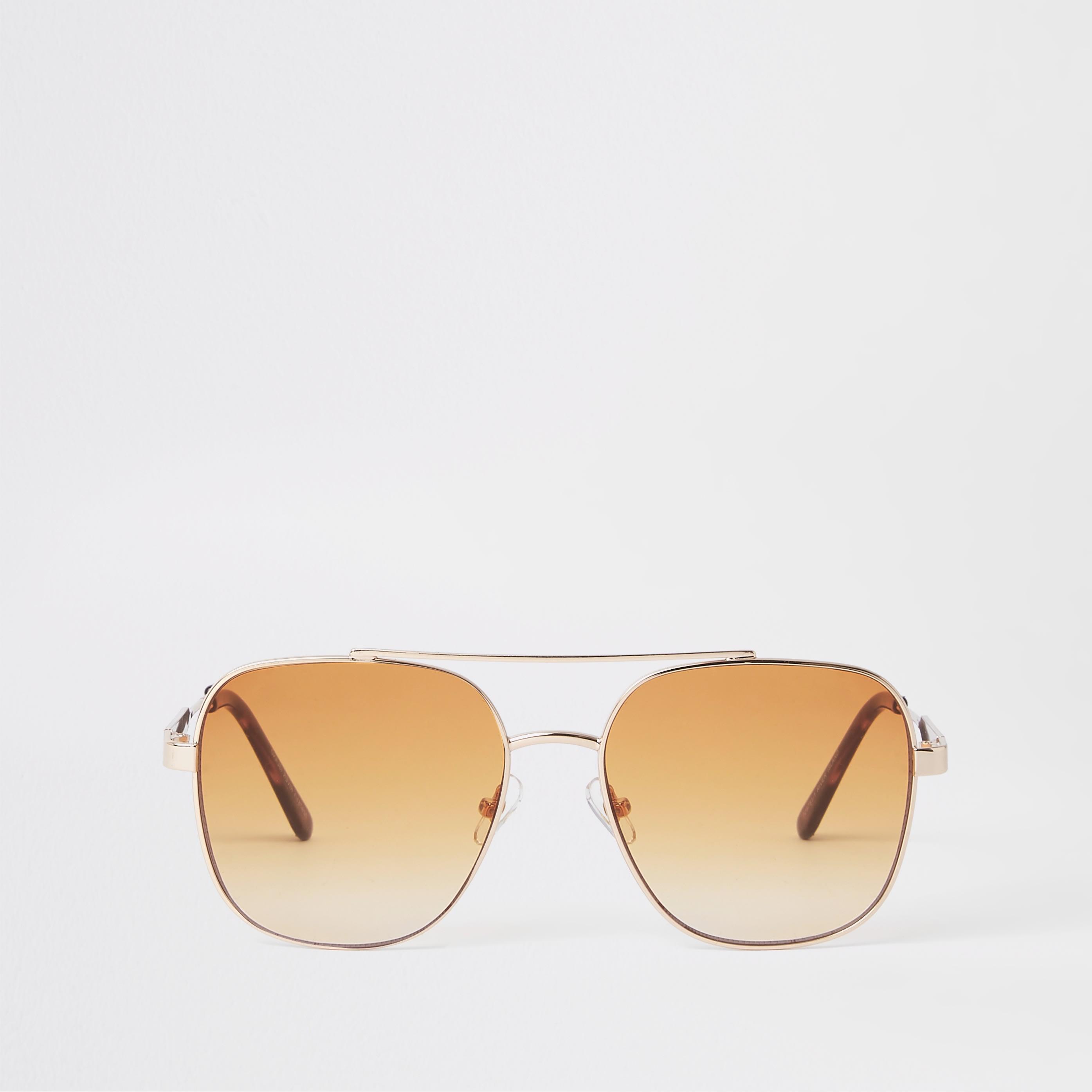 RIVER ISLAND | Womens Gold Tone Orange Lens Aviator Sunglasses | Goxip