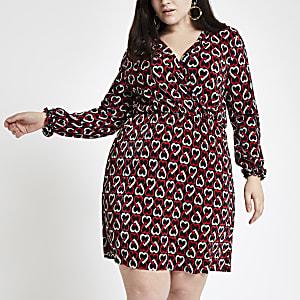 Plus – Schwarzes Jersey-Kleid mit Print