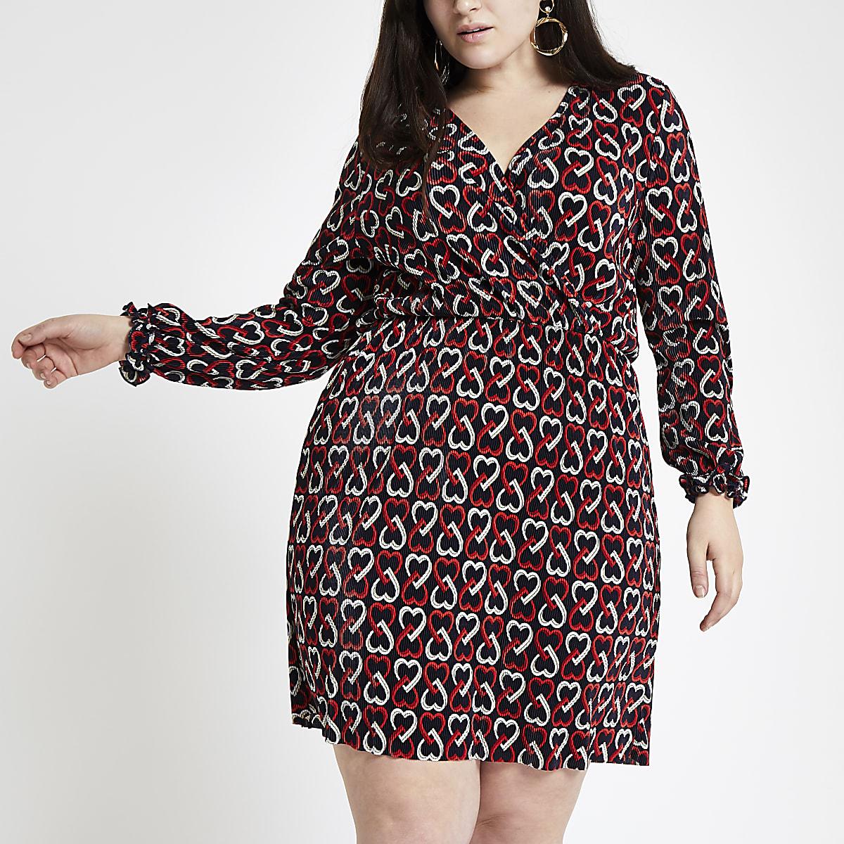 Plus black geo heart print jersey dress