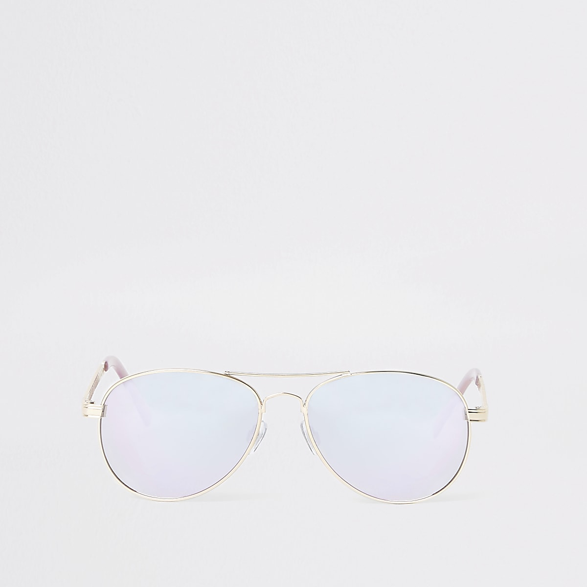Gold tone aviator purple lens sunglasses