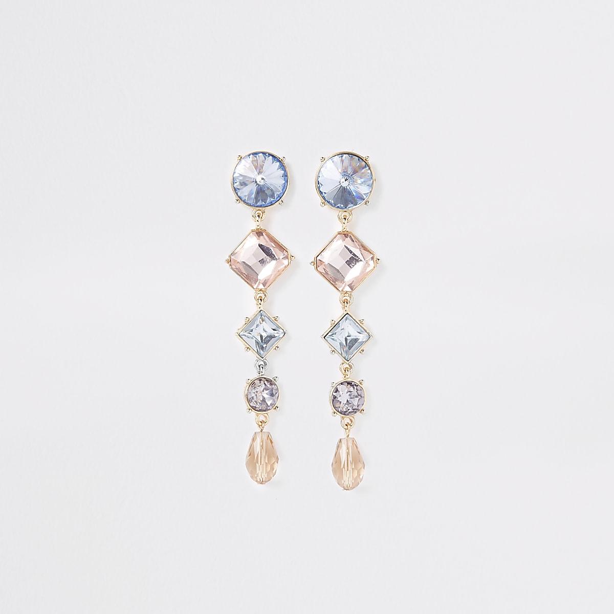 Gold coloured gem drop earrings