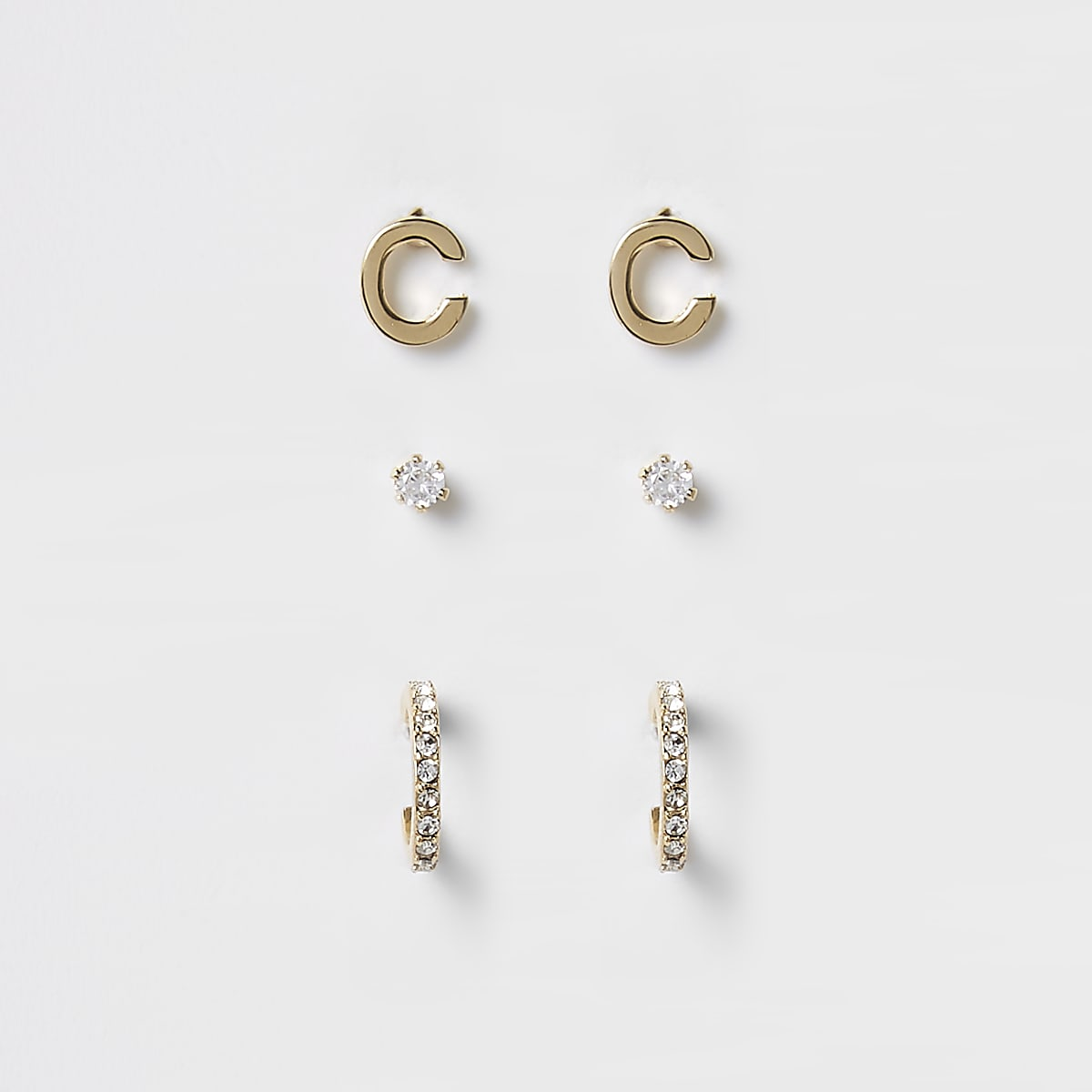 Gold plated 'C' cubic zirconia stud multipack