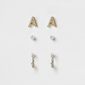 Gold plated 'A' cubic zirconia stud multipack