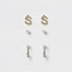 Gold plated 'S' cubic zirconia stud multipack