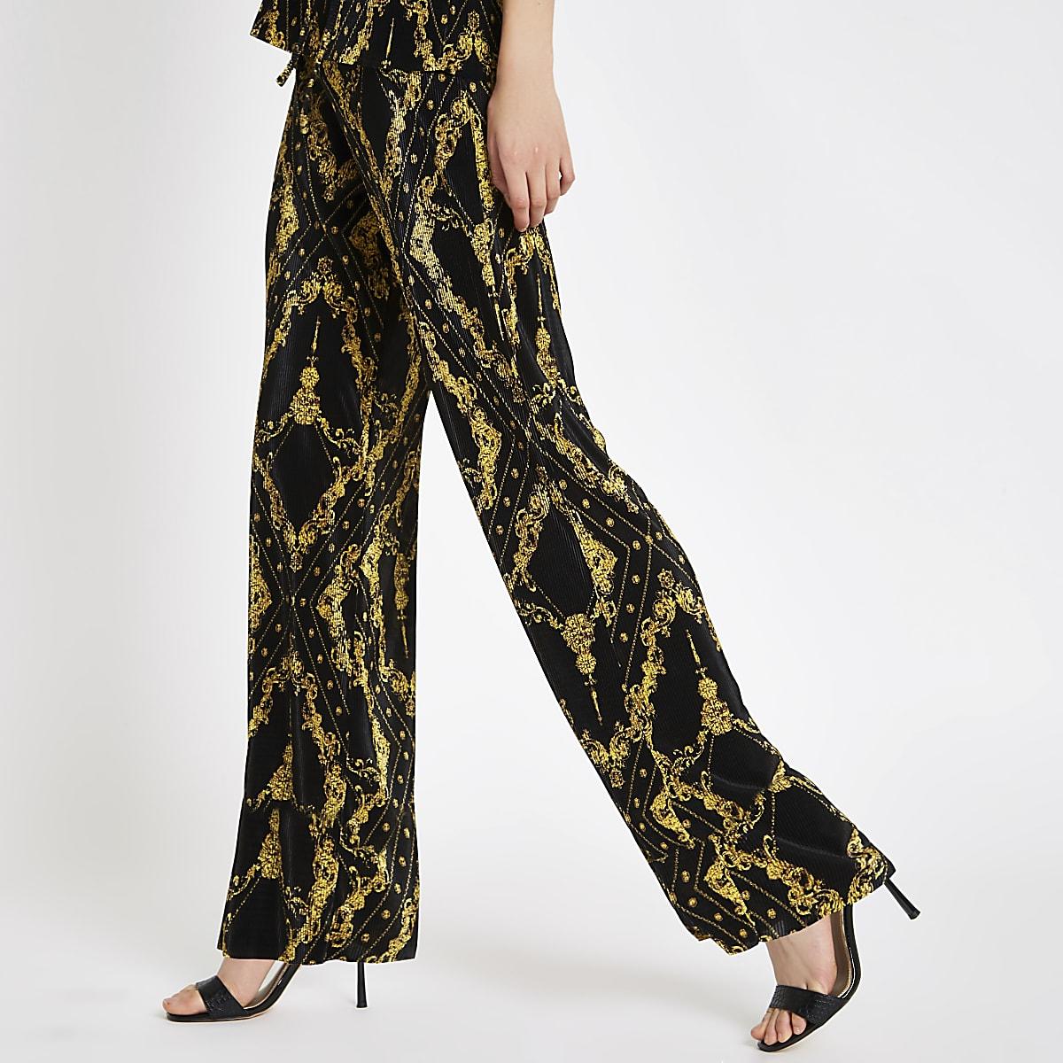 Black chain print plisse wide leg trousers