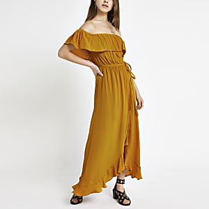 Petite – Robe Bardot longue jaune