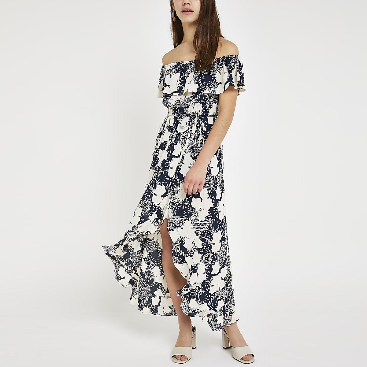 c4b2377767 Petite blue floral bardot maxi dress - Maxi Dresses - Dresses - women