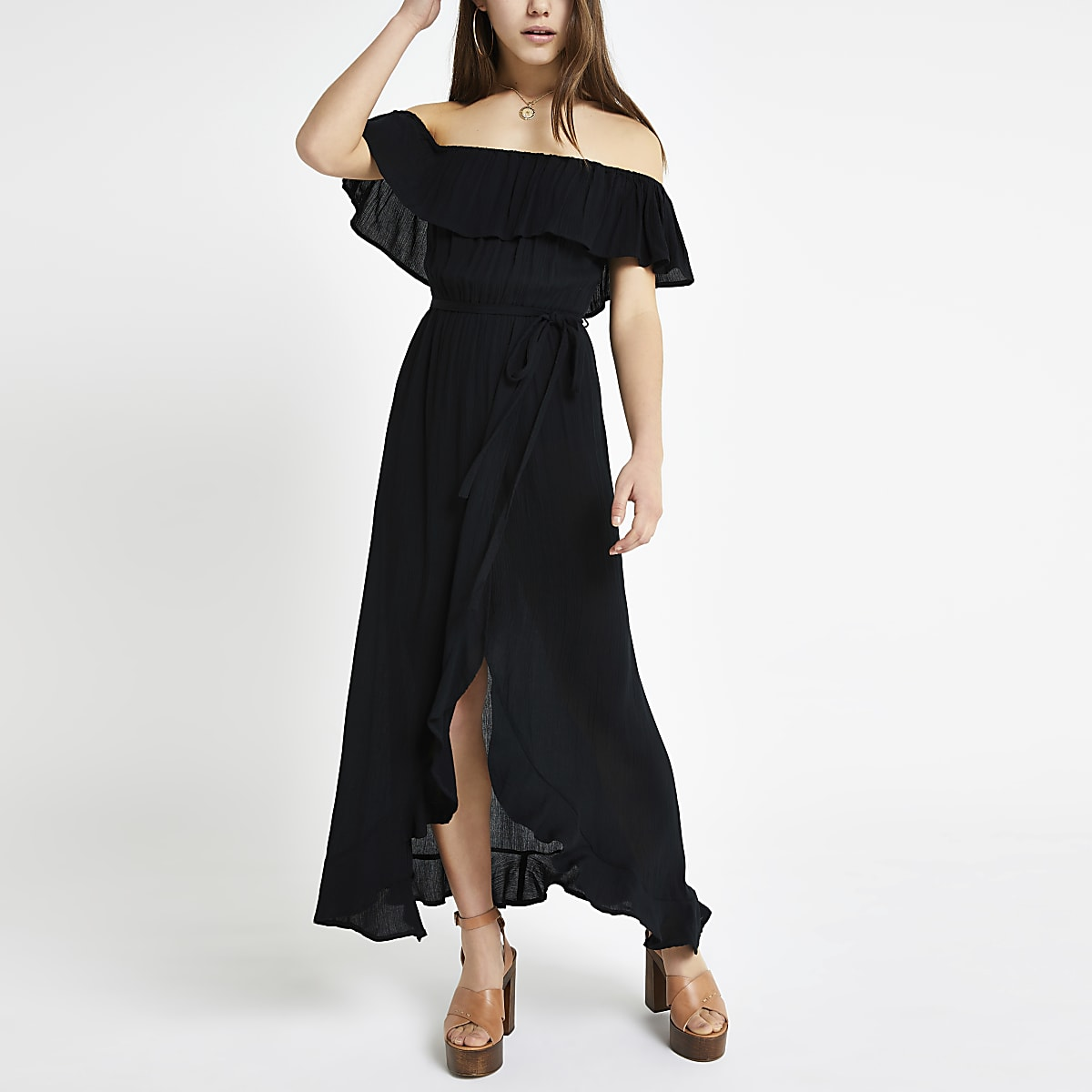 Petite black bardot tie waist maxi dress