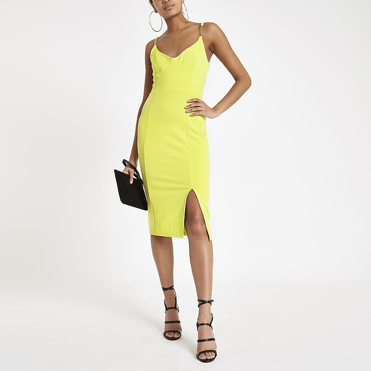 a79493979941 Bright yellow ribbed diamante trim midi dress - Bodycon Dresses - Dresses -  women