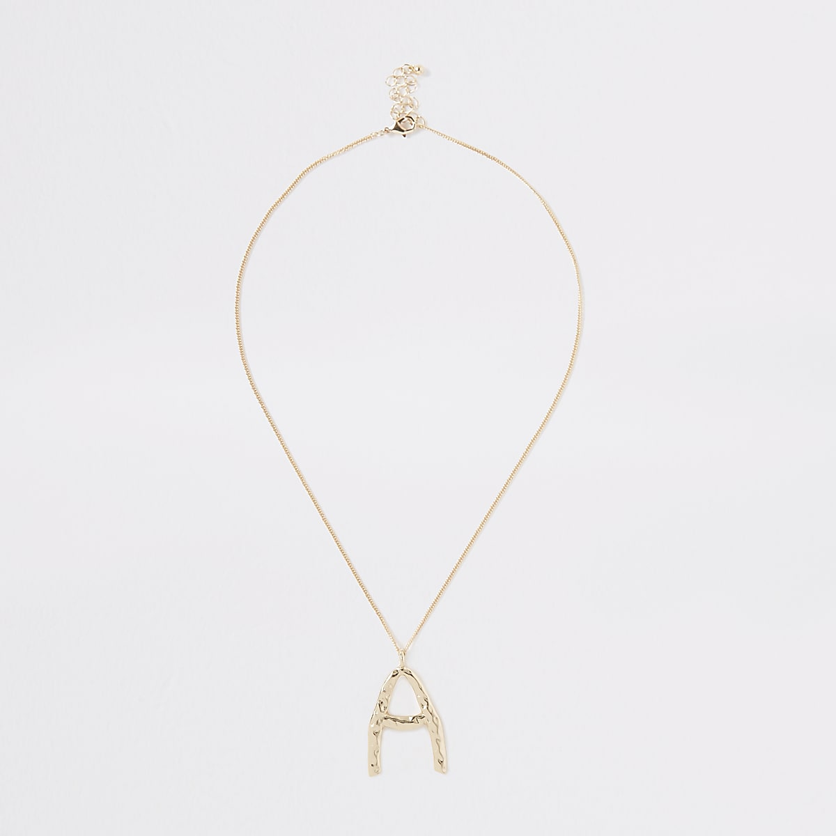 Gold colour large initial 'A' necklace