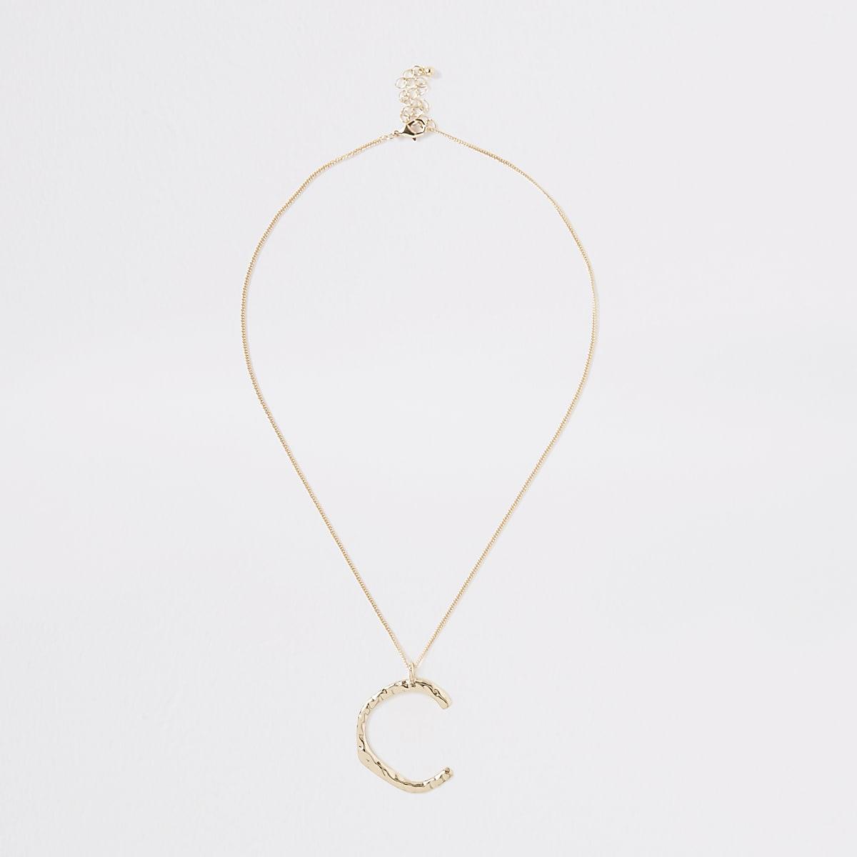 Gold colour large initial 'C' necklace