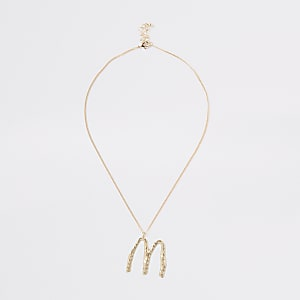 Gold color large initial 'M' necklace