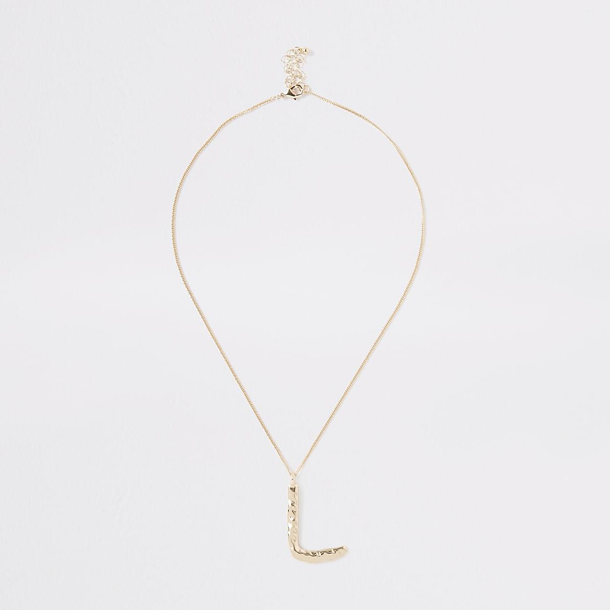 Gold color large initial 'L' necklace